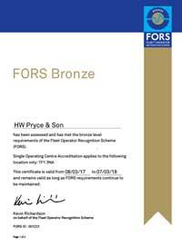 FORS Bronze Certificate