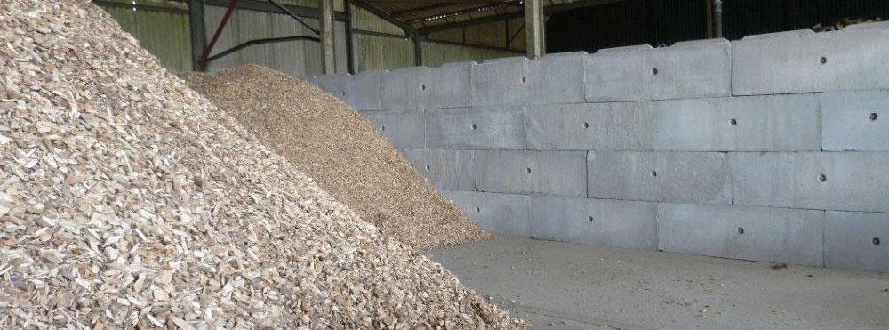 Vee Interlocking Concrete block - wood chip storage
