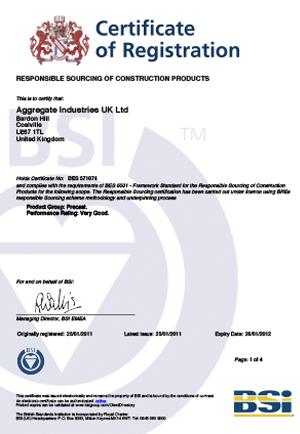 BES 6001 Precast Certificate