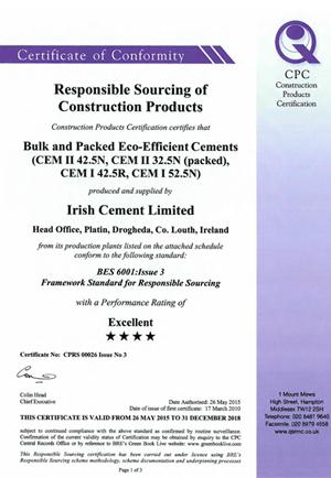 Irish Cement Certificate