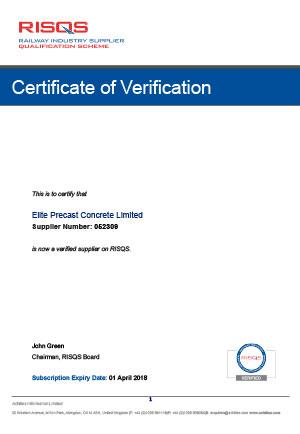 RISQS Certificate of Verification 2018