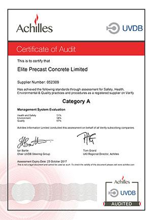 UVDB Certificate of Audit 2017