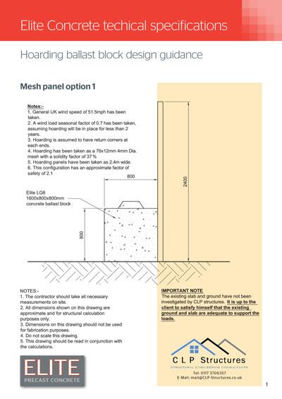 Hoarding Ballast Blocks Mesh Panel Calculations