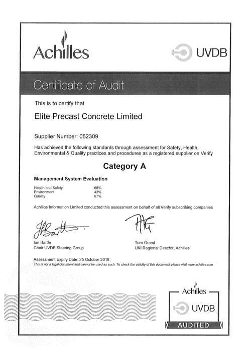 UVDB Certificate of Audit 2017 - 2018
