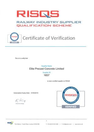RISQS Certificate of Verification 2018-2019