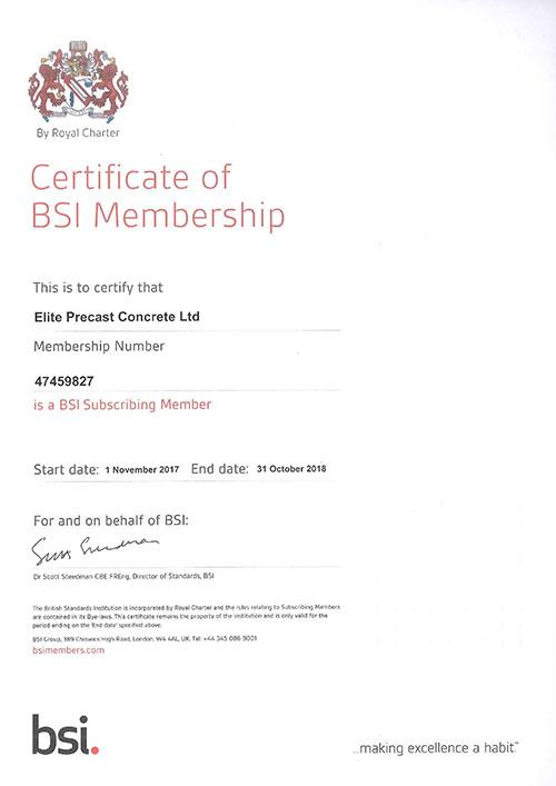 BSI Certificate 2017-2018