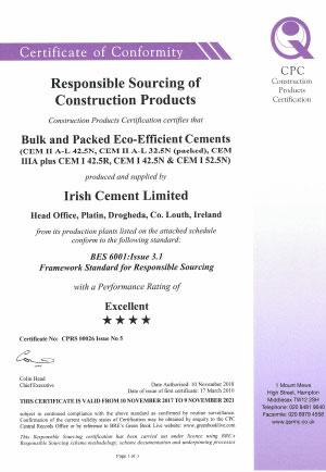 Irish Cement BES 6001 00026 Issue 5.1