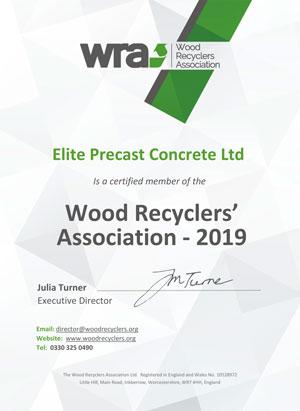 WRA Membership Certificate 2019 Elite Precast Concrete Ltd