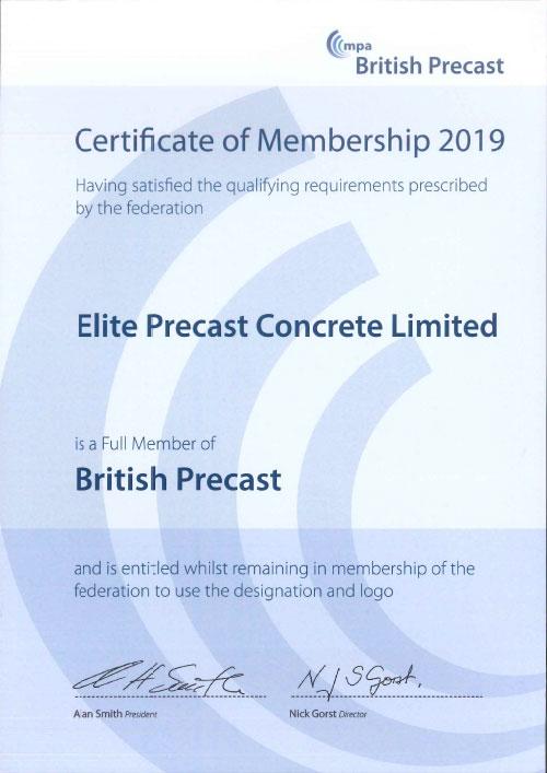 British Precast Concrete Federation Membership Certificate 2019-2020