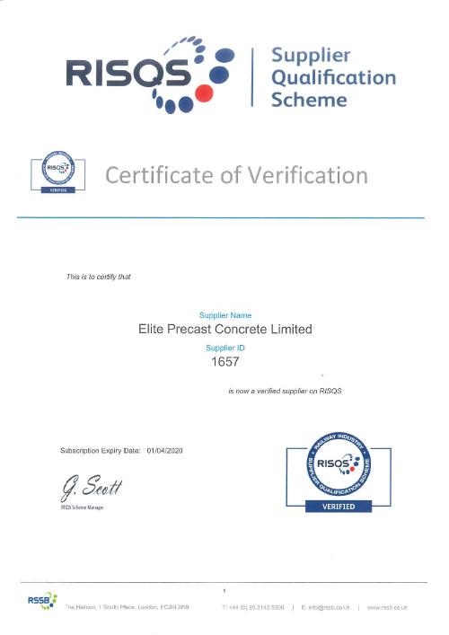RISQS Verified Supplier Certificate 2019-2020