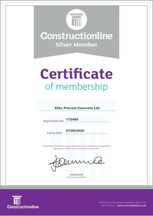 Constructionline Certificate of Membership 2019-2020