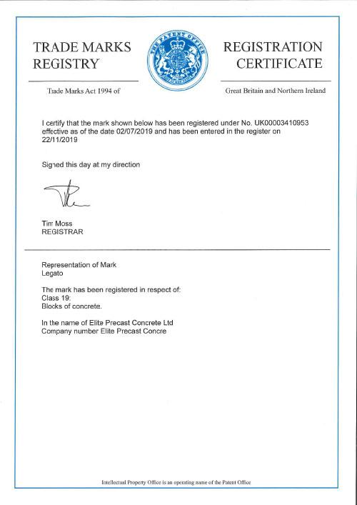 Legato Registered Trademark Certificate