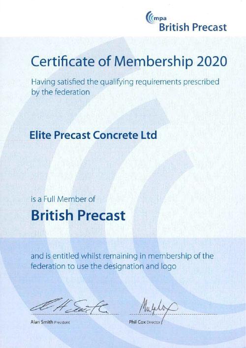 British Precast Concrete Federation Membership Certificate 2020-2021